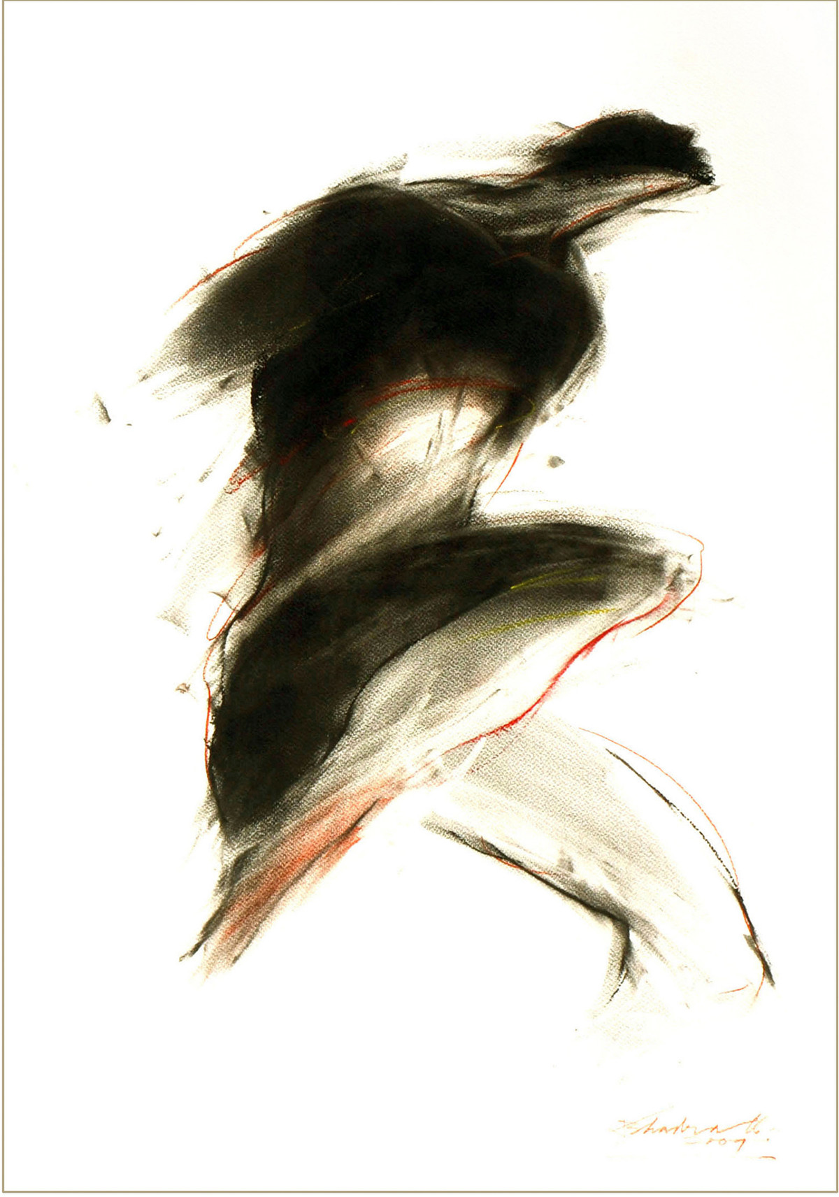 Drawing 3 by Dibyendu Bhadra, Impressionism Drawing, Dry Pastel on Paper, White color