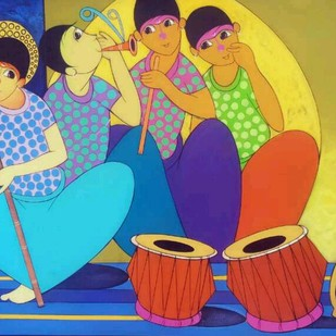 Music Time by Dnyaneshwar Bembade, Decorative Painting, Acrylic on Canvas, Blue color
