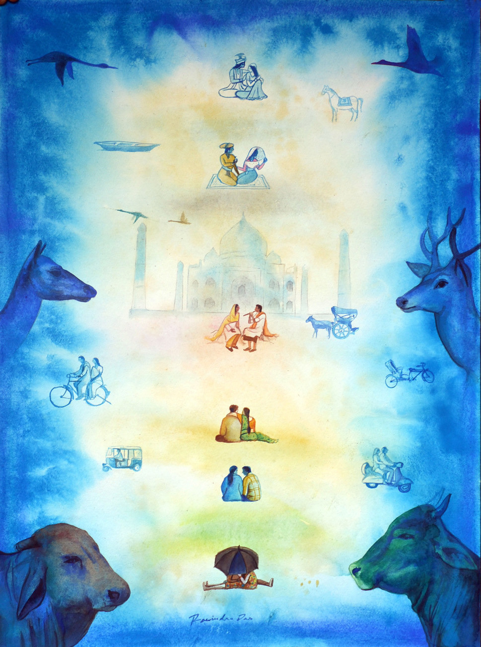 Love Dont Change 1 by rawindra kumar das, Fantasy Painting, Watercolor on Paper, Cyan color