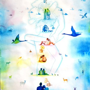 Love Dont Change 2 by rawindra kumar das, Fantasy Painting, Watercolor on Paper, Cyan color