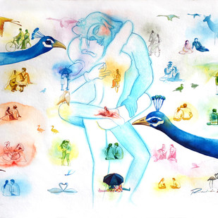 Love Dont Change 3 by rawindra kumar das, Fantasy Painting, Watercolor on Paper, Cyan color