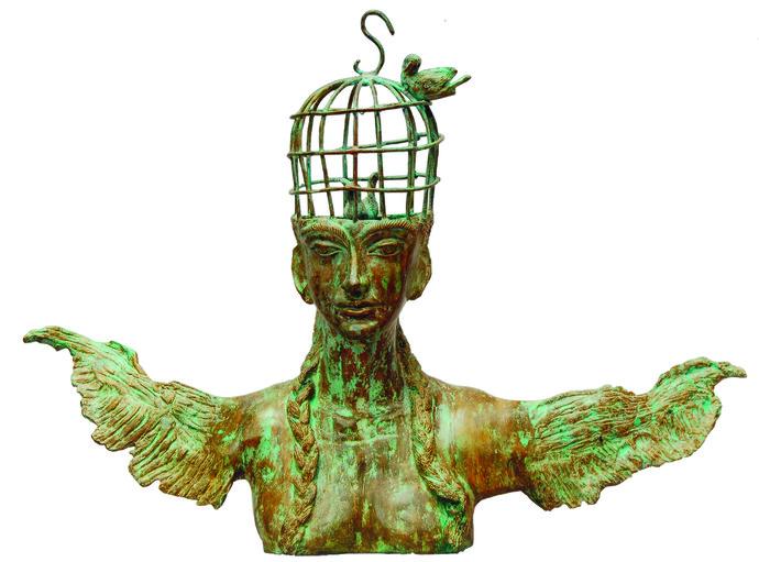 Angel by UMA ROYCHOWDHURY, Fantasy Sculpture | 3D, Bronze, White color