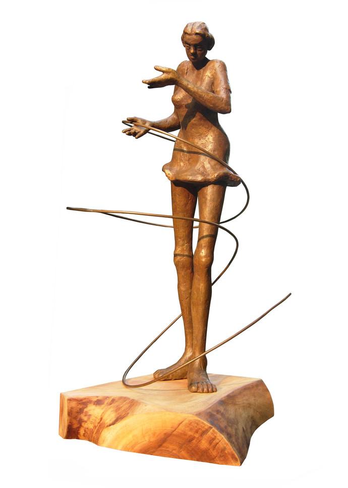 Dancing Maiden by Sukanta Chowdhury, Art Deco Sculpture | 3D, Bronze, White color