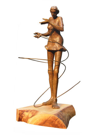 Dancing Maiden by Sukanta Chowdhury, Art Deco Sculpture | 3D, Bronze, White color