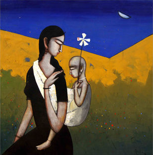 Mother and Child by Sanjay Tikkal, Impressionism Painting, Acrylic on Canvas, Brown color