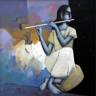 Krishna by Sanjay Tikkal, Impressionism Painting, Acrylic on Canvas, Blue color