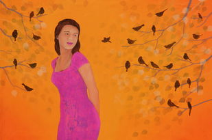 The Song Of Morning by Priyanka Waghela, Decorative Painting, Acrylic on Canvas, Orange color
