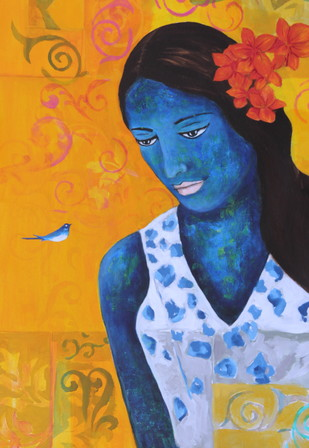 Blue Bird Sings The Raga Vasanta by Priyanka Waghela, Decorative Painting, Acrylic on Canvas,