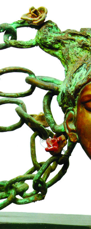 Unshackled from confines by UMA ROYCHOWDHURY, Art Deco Sculpture | 3D, Bronze, White color