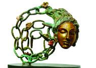 Unshackled from confines by UMA ROYCHOWDHURY, Art Deco Sculpture | 3D, Bronze, White color