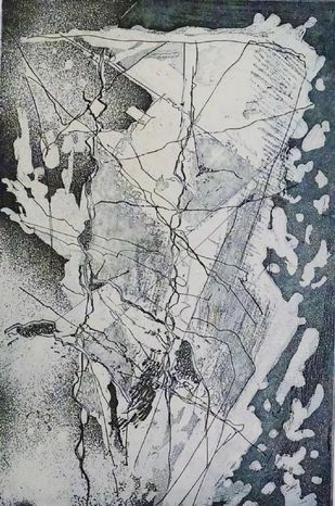 Island I by Kavita Jaiswal, Illustration Printmaking, Etching and Aquatint, Gray color