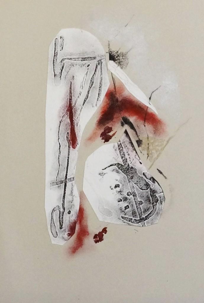 Sealed I by Kavita Jaiswal, Illustration Printmaking, Mixed Media on Paper, Beige color