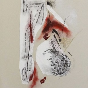 Sealed I by Kavita Jaiswal, Illustration Printmaking, Mixed Media on Paper, Beige color
