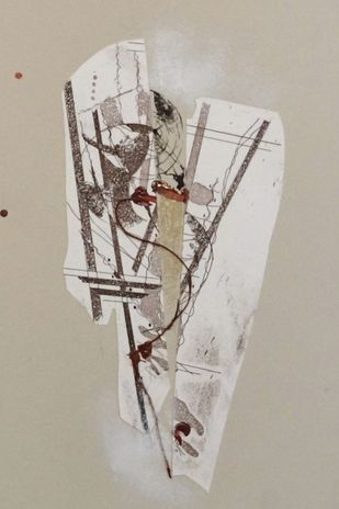 Sealed III by Kavita Jaiswal, Abstract Printmaking, Mixed Media, Beige color