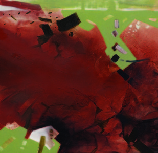 12.50 AM by Sudip Roy, Abstract Painting, Oil on Canvas, Brown color