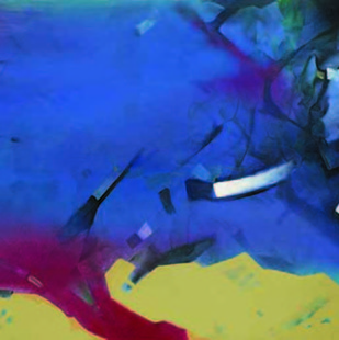 2.00 AM by Sudip Roy, Abstract Painting, Oil on Canvas, Blue color