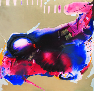 3.45 AM by Sudip Roy, Abstract Painting, Oil on Canvas, Beige color