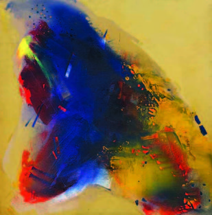 4.14 PM by Sudip Roy, Abstract Painting, Oil on Canvas, Brown color