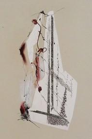 Sealed IV by Kavita Jaiswal, Illustration Printmaking, Mixed Media on Paper, Beige color