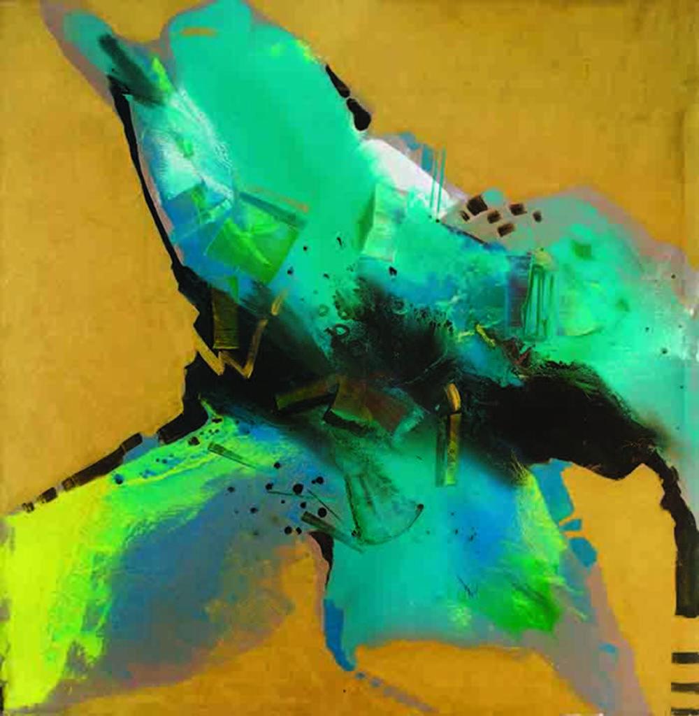 5.15 PM by Sudip Roy, Abstract Painting, Oil on Canvas, Beige color