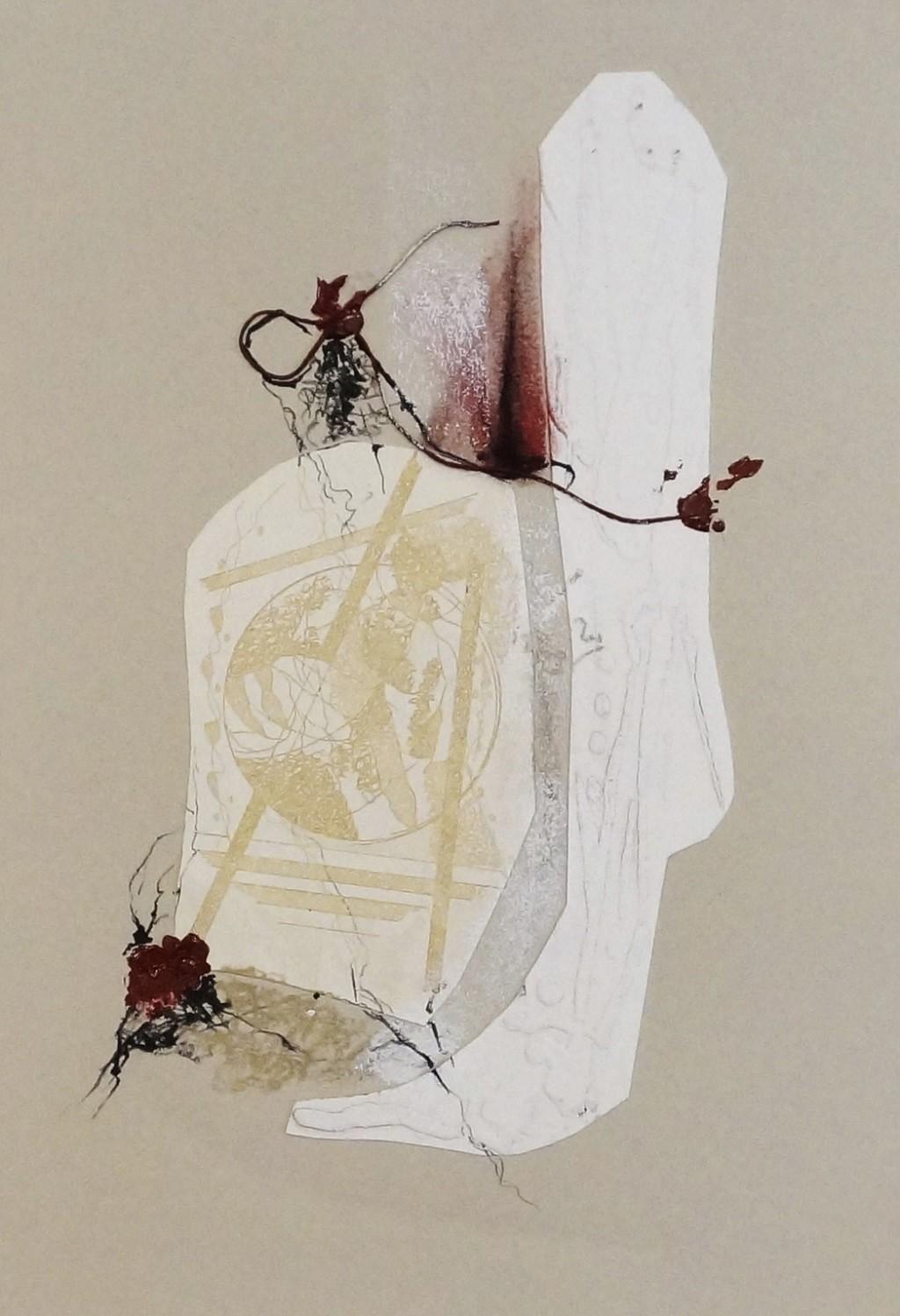 Sealed V by Kavita Jaiswal, Illustration Printmaking, Mixed Media on Paper, Beige color