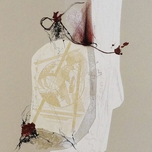 Sealed V by Kavita Jaiswal, Illustration Printmaking, Mixed Media on Paper, Beige color