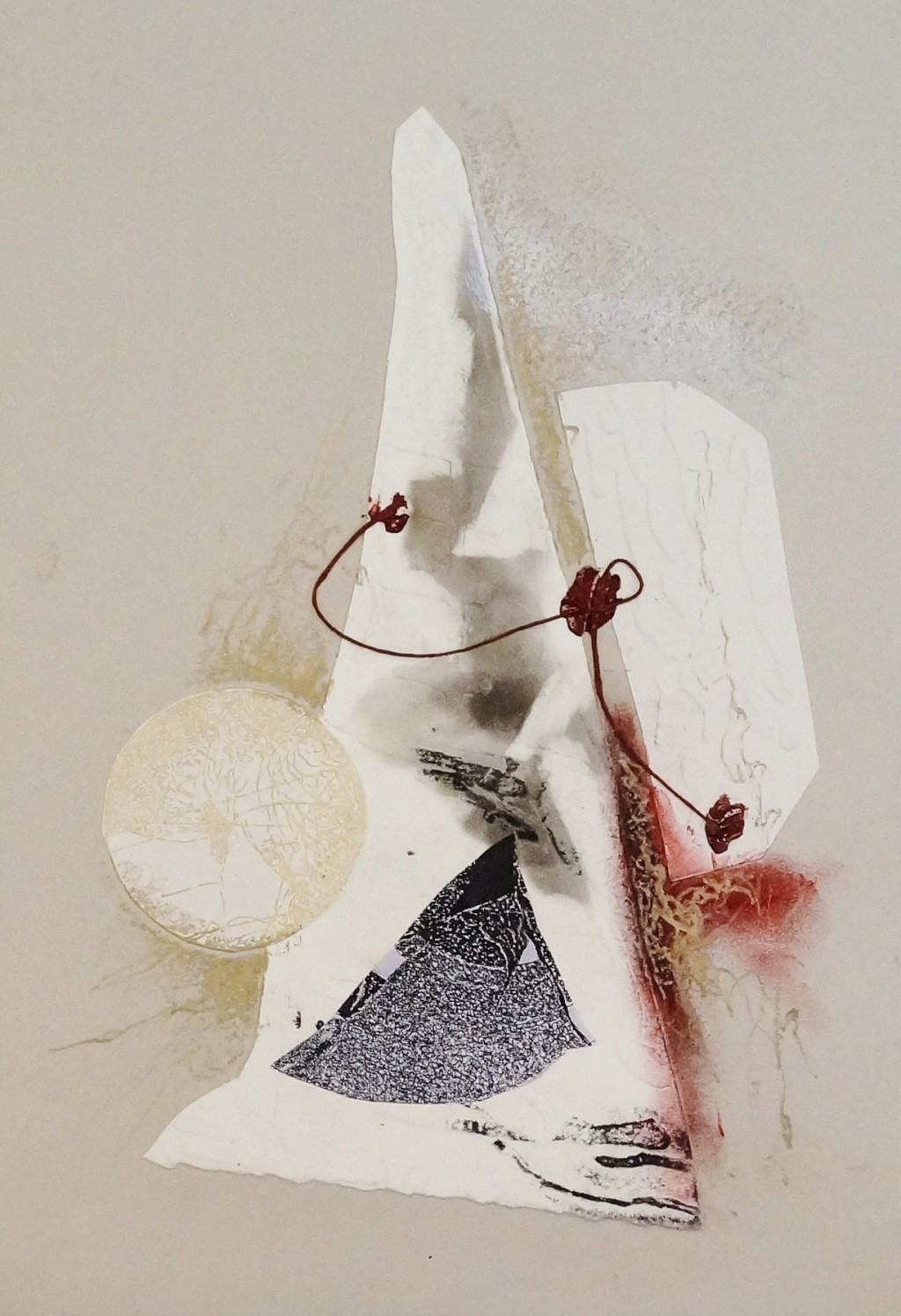 Sealed IV by Kavita Jaiswal, Illustration Printmaking, Mixed Media on Paper, Beige color