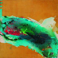 2.15 PM by Sudip Roy, Abstract Painting, Oil on Canvas, Brown color