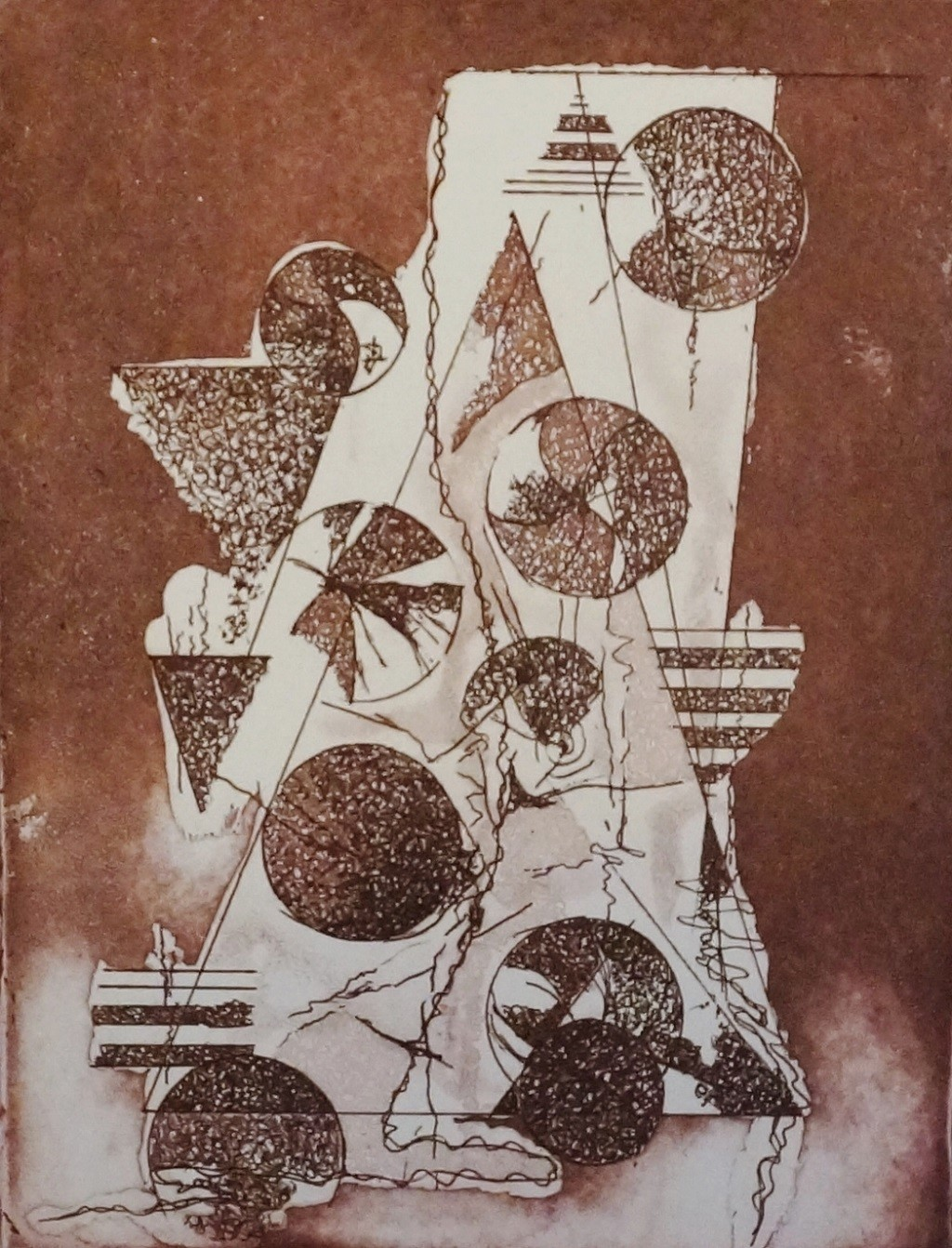 Time Piece I by Kavita Jaiswal, Illustration Printmaking, Etching and Aquatint, Brown color