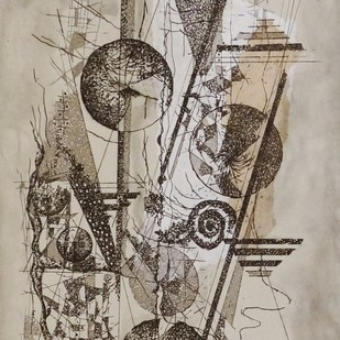 Time Piece II by Kavita Jaiswal, Illustration Printmaking, Etching and Aquatint, Beige color