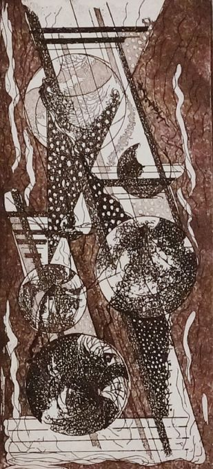 Time Piece III by Kavita Jaiswal, Illustration Printmaking, Etching and Aquatint, Brown color