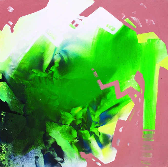 9.15 PM by Sudip Roy, Abstract Painting, Oil on Canvas, Green color