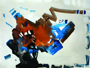 11.10 PM by Sudip Roy, Abstract Painting, Watercolor on Paper, Gray color