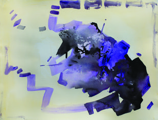 8.30 AM by Sudip Roy, Abstract Painting, Watercolor on Paper, Beige color