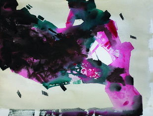 9.15 PM by Sudip Roy, Abstract Painting, Watercolor on Paper, Gray color