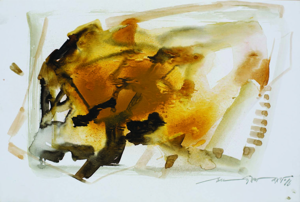 12.12 AM by Sudip Roy, Abstract Painting, Watercolor on Board, Gray color
