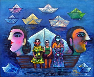 Jeevan Ki Naiya by SANJU DAS, Impressionism Painting, Acrylic on Canvas, Blue color