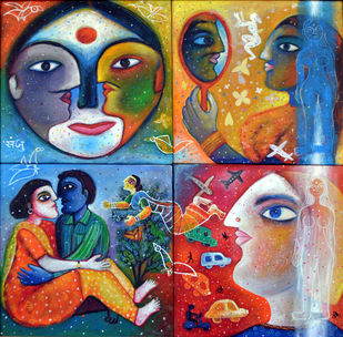 Manmeet by SANJU DAS, Expressionism Painting, Acrylic on Canvas, Brown color