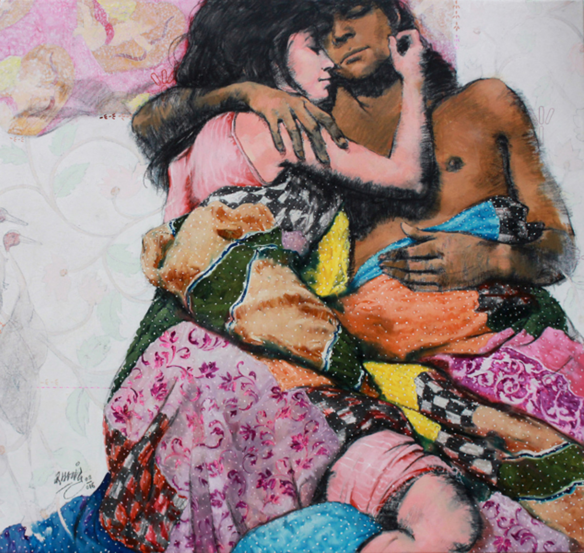 Moment 5 by Ramchandra Kharatmal, Decorative Painting, Mixed Media on Canvas, Brown color