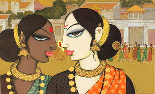 Untitled by Varsha Kharatmal, Decorative Painting, Acrylic on Canvas, Brown color