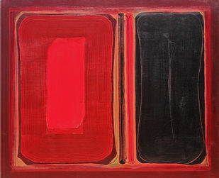 Untitled by Abhijeet Shinde, Abstract Painting, Acrylic on Canvas, Red color