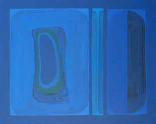 Untitled by Abhijeet Shinde, Abstract Painting, Acrylic on Canvas, Blue color