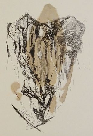 Island II by Kavita Jaiswal, Illustration Printmaking, Etching and Aquatint, Beige color