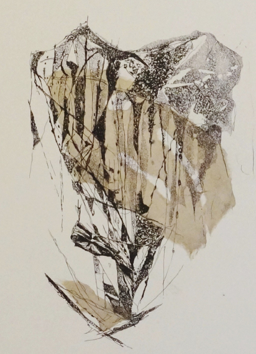 Island III by Kavita Jaiswal, Illustration Printmaking, Etching and Aquatint, Beige color