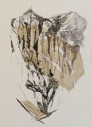 Island III by Kavita Jaiswal, Illustration Printmaking, Etching and Aquatint, Beige color