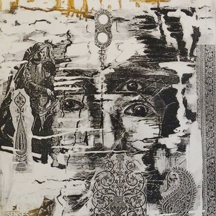Untitled by Kavita Jaiswal, Illustration Printmaking, Etching on Paper, Beige color