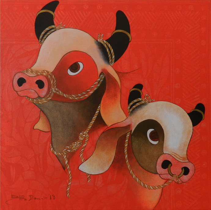 Bulls by H R Das, Decorative Painting, Acrylic on Canvas, Red color