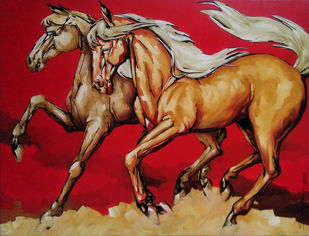 Run by Sampa Paul, Impressionism Painting, Acrylic on Canvas, Brown color