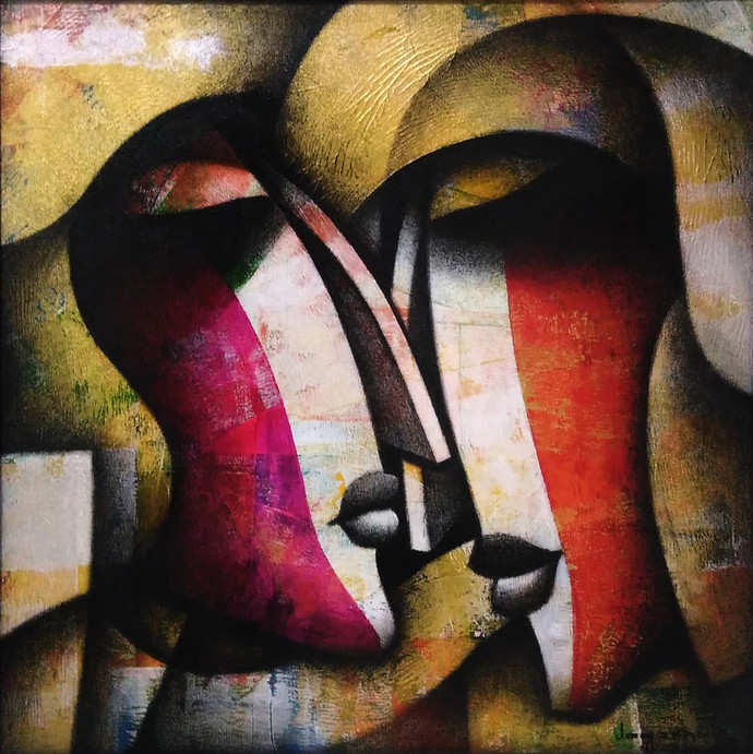 Bond of Love by Jagannath Paul, Decorative Painting, Acrylic on Canvas, Brown color