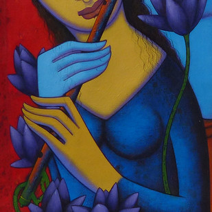 Untitled by Prakash Deshmukh, Decorative Painting, Acrylic on Canvas, Blue color